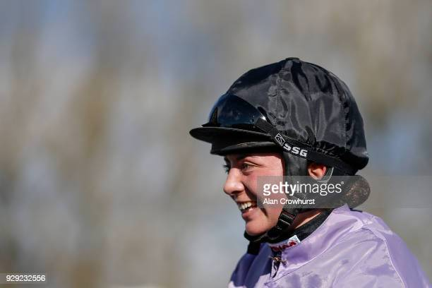 Bryony Frost after riding Moabit to win The Smarkets Handicap Hurdle Race at Wincanton racecourse on March 8 2018 in Wincanton England