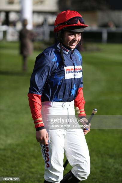 Bryony Frost heads out to ride in The Sodexo Reynoldstown Novicesâ Steeple Chase Race run during The Betfair Ascot Chase Raceday at Ascot Racecourse...