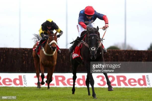 Bryony Frost rides clear on Black Corton to win The 32Red Kauto Star Novices' Steeple Chase at Kempton Park racecourse on December 26 2017 in Sunbury...