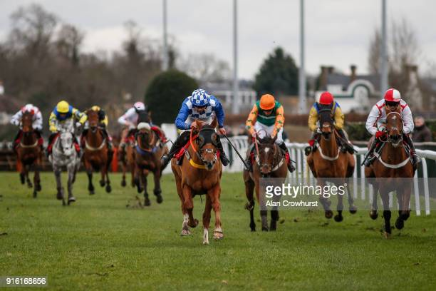 Bryony Frost riding Alberta clear the last to win The Matchbook Racing Is Commission Free Conditional Jockeys' Handicap Hurdle at Kempton Park...
