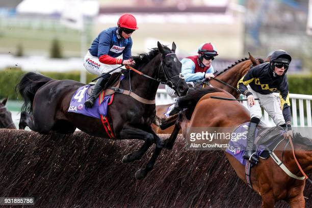 Bryony Frost riding Black Corton at Cheltenham racecourse on Ladies Day on March 14 2018 in Cheltenham England