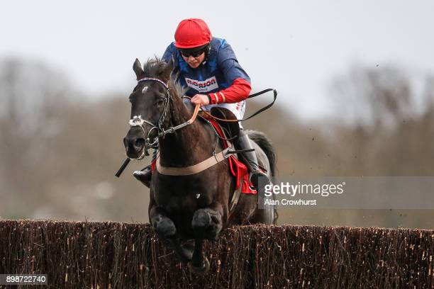 Bryony Frost riding Black Corton clear the last to win The 32Red Kauto Star Novices Steeple Chase at Kempton Pak racecourse on December 26 2017 in...
