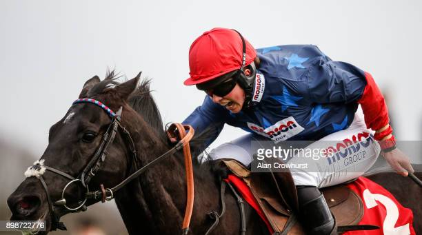 Bryony Frost riding Black Corton clear the last to win The 32Red Kauto Star Novicesâ Steeple Chase at Kempton Pak racecourse on December 26 2017 in...