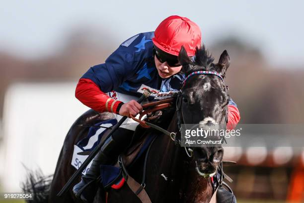 Bryony Frost riding Black Corton clear the last to win The Sodexo Reynoldstown Novices' Steeple Chase at Ascot Racecourse on February 17 2018 in...