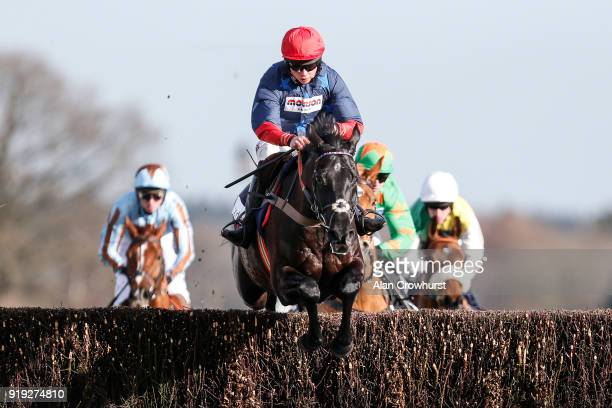 Bryony Frost riding Black Corton on their way to winning The Sodexo Reynoldstown Novices' Steeple Chase at Ascot Racecourse on February 17 2018 in...