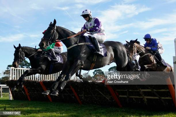 Bryony Frost riding Canyon City on their way to winning The Rob It's On Alfresco Clarke Handicap Hurdle Race at Fontwell Park Racecourse on October...