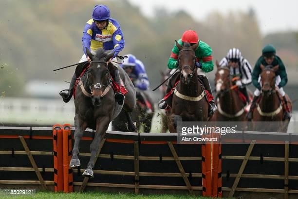 Bryony Frost riding Ecco clear the last to win The GL Events UK Novices' Hurdle at Ascot Racecourse on November 02, 2019 in Ascot, England.