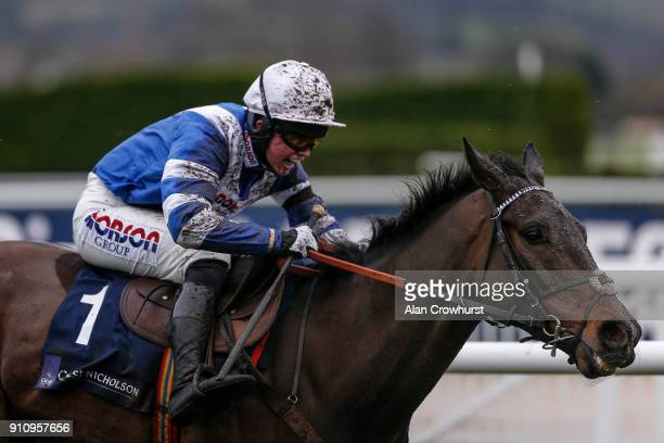 Bryony Frost riding Frodon clear the last to win The Crest Nicholson Handicap Steeple Chase at Cheltenham racecourse on January 27 2018 in Cheltenham...