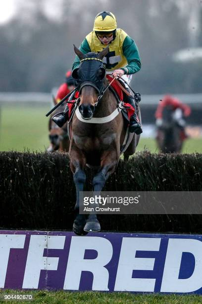 Bryony Frost riding Milansbar lead all the way to win The Betfred Classic Handicap Steeple Chase at Warwick Racecourse on January 13 2018 in Warwick...