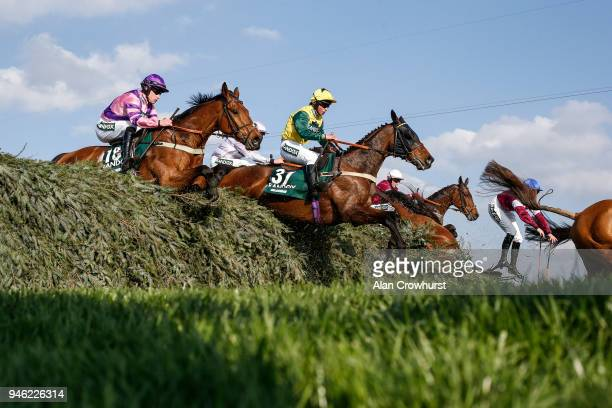 Bryony Frost riding Milansbar on their way to finishing in 5th place in The Randox Health Grand National Handicap Steeple Chase at Aintree racecourse...