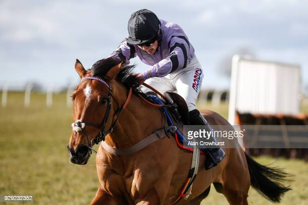 Bryony Frost riding Moabit clear the last to win The Smarkets Handicap Hurdle Race at Wincanton racecourse on March 8 2018 in Wincanton England