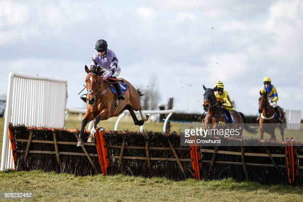 Bryony Frost riding Moabit on their way to winning The Smarkets Handicap Hurdle Race at Wincanton racecourse on March 8 2018 in Wincanton England