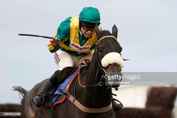 Bryony Frost riding Present Man clear the last to win The Badger Ales Trophy Handicap Chase at Wincanton Racecourse on November 10 2018 in Wincanton...