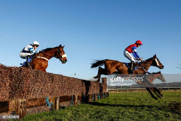 Bryony Frost riding Triple Chief on their way to winning The CS Electrical Wholesale Hager Handicap Steeple Chase at Taunton racecourse on February...