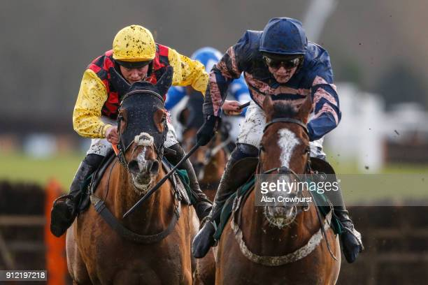Bryony Frost ridng Northandsouth clear the last to win The Six Nations Rugby At 188Bet Handicap Hurdle Race from Clayton at Lingfield Park racecourse...
