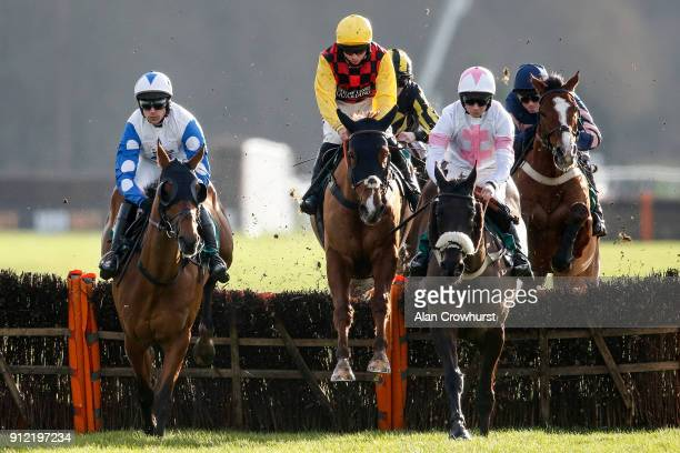 Bryony Frost ridng Northandsouth on their way to winning The Six Nations Rugby At 188Bet Handicap Hurdle Race at Lingfield Park racecourse on January...