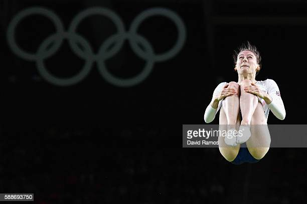 Bryony Page of Great Britain competes during the Trampoline Gymnastics Women's Qualification on Day 7 of the Rio 2016 Olympic Games at the Rio...