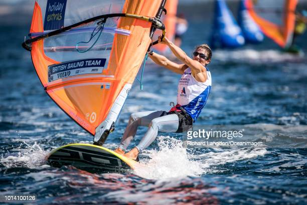 Bryony Shaw from the British Sailing Team sails at the 2018 ISAF Sailing World Championships on August 09 2018 in Aarhus Denmark