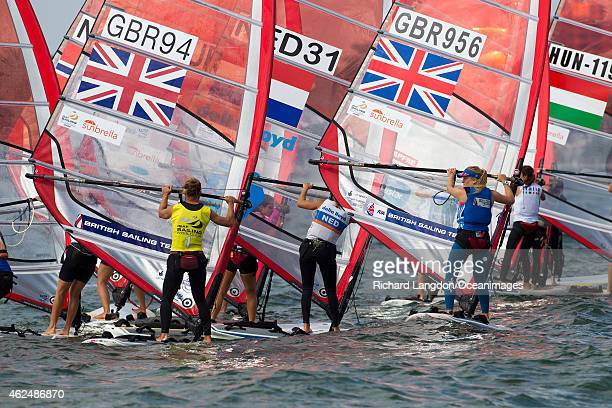 Bryony Shaw from the British Sailing Team sails her RSX windsurfer during day four of the 2015 ISAF Sailing World Cup on January 29 2015 in Miami USA