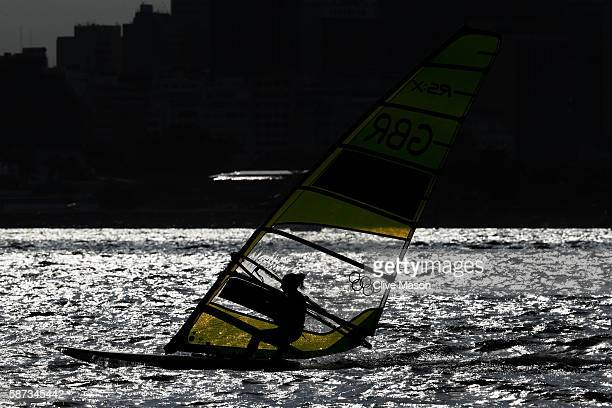 Bryony Shaw of Great Britain competes during the Women's RSX Race 2 on Day 3 of the Rio 2016 Olympic Games at Marina da Gloria on August 9 2016 in...