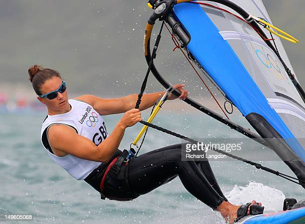 Bryony Shaw of Great Britain competes in the RSX Women's Sailing on Day 4 of the London 2012 Olympic Games at the Weymouth Portland Venue at Weymouth...