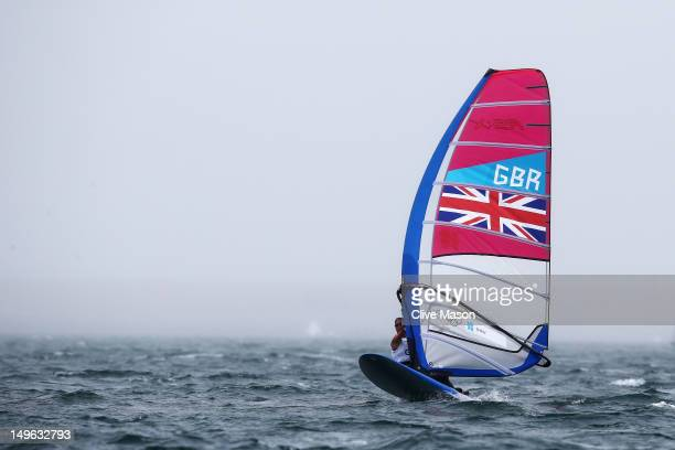 Bryony Shaw of Great Britain competes in the RSX Women's Sailing on Day 5 of the London 2012 Olympic Games at the Weymouth Portland Venue at Weymouth...