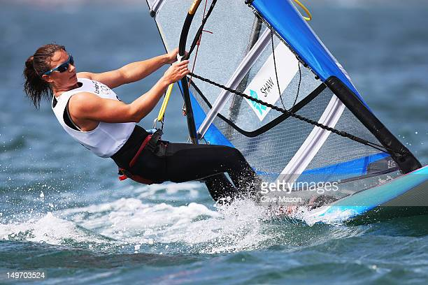Bryony Shaw of Great Britain competes in the RSX Women's Sailing on Day 6 of the London 2012 Olympic Games at the Weymouth Portland Venue at Weymouth...
