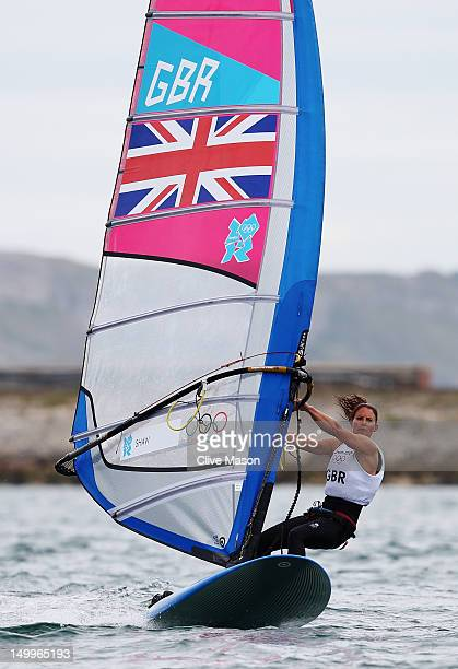 Bryony Shaw of Great Britain competes in the RSX Women's Sailing on Day 11 of the London 2012 Olympic Games at the Weymouth Portland Venue at...