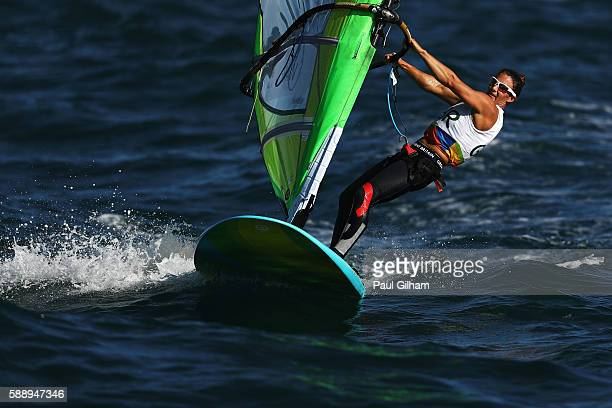 Bryony Shaw of Great Britain competes in the Women's RSX class on Day 7 of the Rio 2016 Olympic Games at Marina da Gloria on August 12 2016 in Rio de...