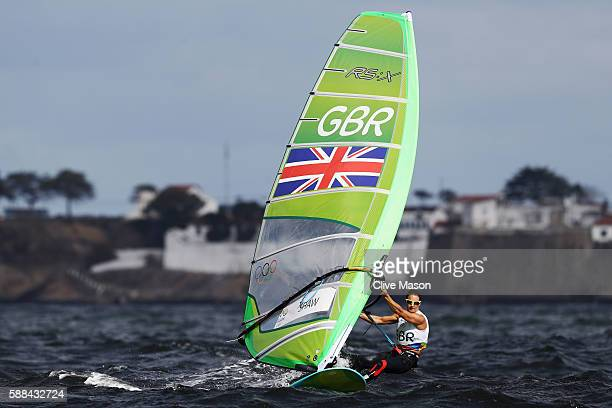 Bryony Shaw of Great Britain competes in the Women's RSX class races on Day 6 of the Rio 2016 Olympics at Marina da Gloria on August 11 2016 in Rio...
