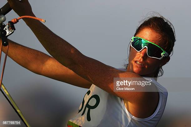 Bryony Shaw of Great Britain competes in the Women's RSX race on Day 4 of the Rio 2016 Olympic Games at the Marina da Gloria on August 9 2016 in Rio...