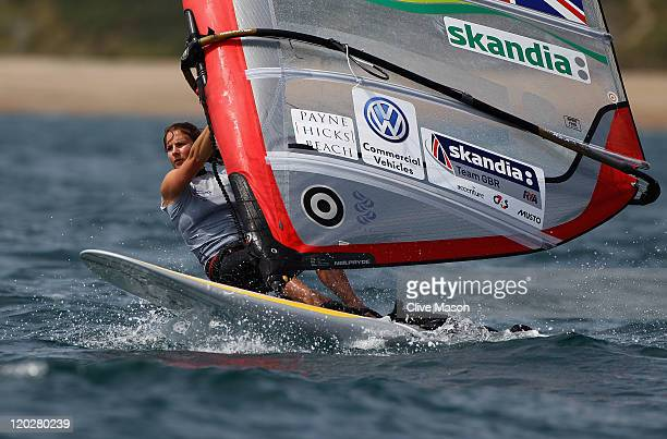 Bryony Shaw of Great Britain in action during a Womens RSX class practice race during day two of the Weymouth and Portland International Regatta at...