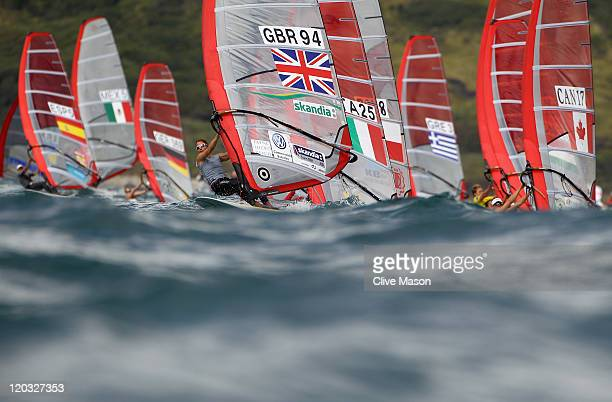 Bryony Shaw of Great Britain in action during a Womens RSX Class race during day three of the Weymouth and Portland International Regatta at the...