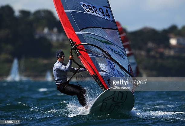 Bryony Shaw of Great Britain in action during an RSX race on day three of the Skandia Sail For Gold Regatta at the Weymouth and Portland National...