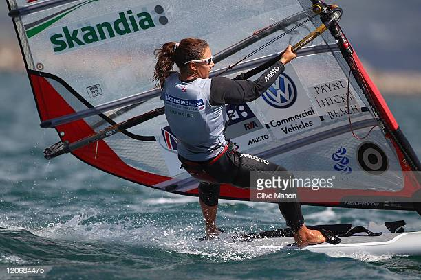 Bryony Shaw of Great Britain in action during an RSX Womens Class race during day seven of the Weymouth and Portland International Regatta at the...