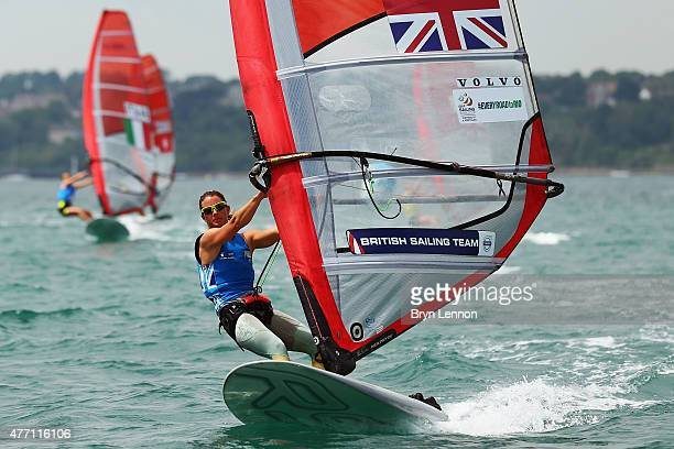 Bryony Shaw of Great Britain in action during the RS X Women's Windsurfer competition during the ISAF Sailing World Cup finals on June 14 2015 in...