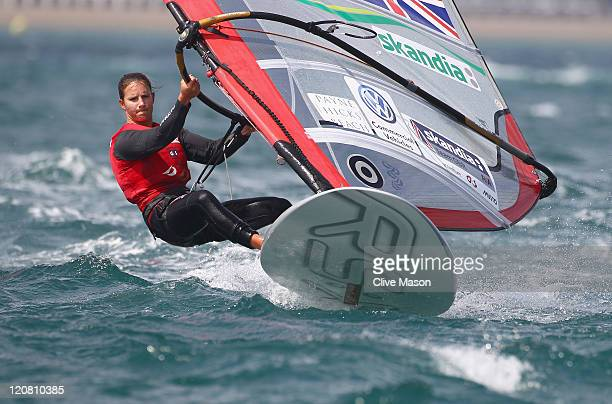 Bryony Shaw of Great Britain in action on her way to a bronze medal in the RSX Womens Class medal race on day ten of the Weymouth and Portland...