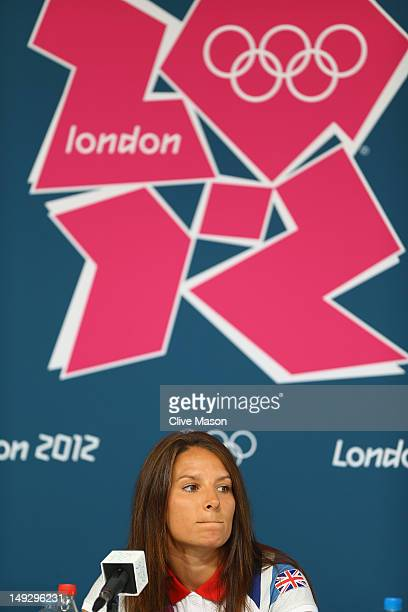 Bryony Shaw of Great Britain talks to the media during a Team GB press conference at the Weymouth Portland Venue ahead of the London 2012 Olympic...