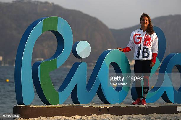 Bryony Shaw of Great Britain who sailed in the womens RSX class is seen at the Marina da Gloria on Day 14 of the 2016 Rio Olympic Games on August 19...