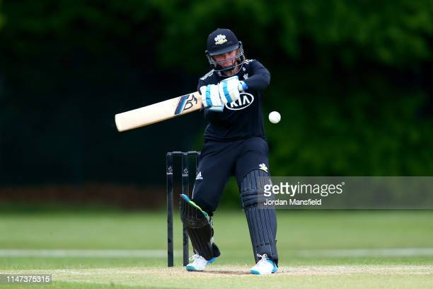 Bryony Smith of Surrey bats during the Royal London One Day Cup match between Surrey Women and Lancashire Women at Guildford Cricket Club on May 06,...