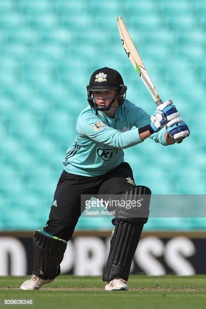 Bryony Smith of Surrey Stars bats during the Kia Super League 2017 match between Surrey Stars and Loughborough Lightning at The Kia Oval on August 26...