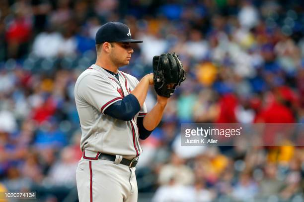 Bryse Wilson of the Atlanta Braves pitches in his major league debut against the Pittsburgh Pirates at PNC Park on August 20 2018 in Pittsburgh...