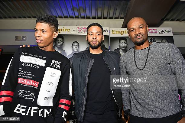 Bryshere Gray Jussie Smollett and Big Tigger onstage at V103 A Conversation With Jussie Smollett Bryshere Gray at Suite on March 20 2015 in Atlanta...