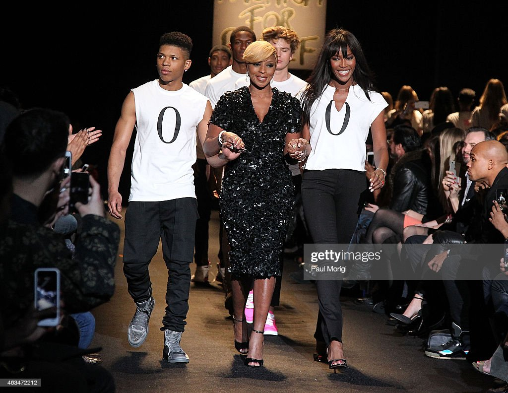 Bryshere Gray, Mary J. Blige and Naomi Campbell walk the runway at Naomi Campbell's Fashion For Relief Charity Fashion Show during Mercedes-Benz Fashion Week Fall 2015 at The Theatre at Lincoln Center on February 14, 2015 in New York City.