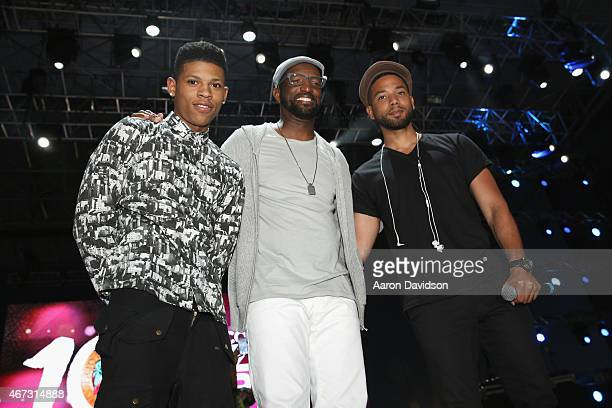 Bryshere Y Gray Rickey Smiley and Jussie Smollett onstage at the 10th Annual Jazz in the Gardens Celebrating 10 Years of Great Music at Sun Life...