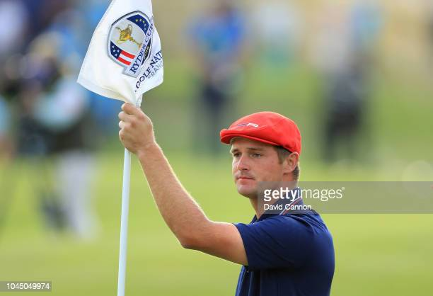 Bryson de Chambeau of the United States on the 18th green in his match against Alex Noren during the final day singles matches of the 2018 Ryder Cup...