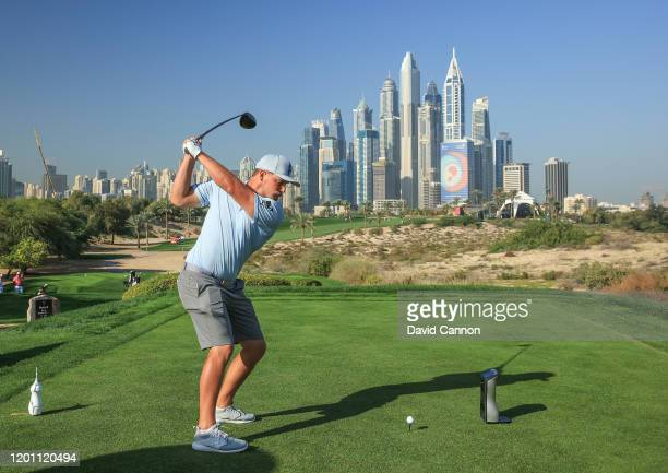 Bryson De Chambeau of the United States plays a shot from the eighth tee during the pro-am as a preview for the Omega Dubai Desert Classic on the...