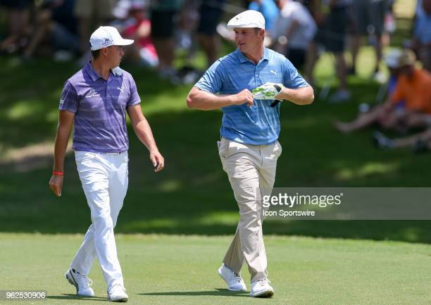 Bryson DeChambeau and Rickie Fowler talk as they walk up the 5th fairway during the second round of the Fort Worth Invitational on May 25 2018 at...
