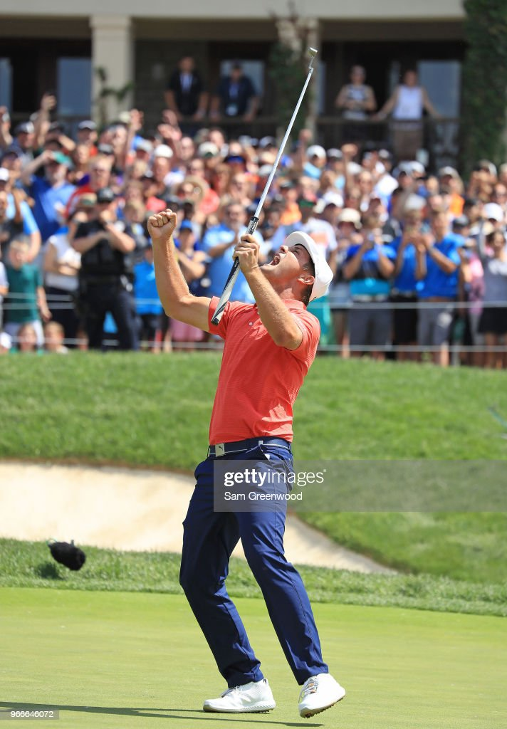 Bryson DeChambeau celebrates after winning in a playoff against Byeong-Hun An of South Korea during the final round of The Memorial Tournament Presented by Nationwide at Muirfield Village Golf Club on June 3, 2018 in Dublin, Ohio.