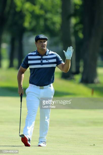 Bryson DeChambeau celebrates his win during the final round of the Rocket Mortgage Classic at the Detroit Golf Club on July 05 2020 in Detroit...